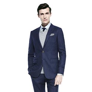 蓝色竖条纹全羊毛休闲套装