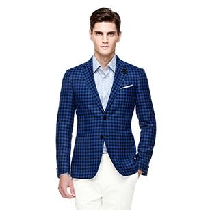 蓝色维西格纹全羊毛时尚单西