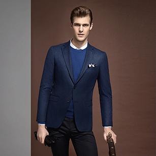 深蓝色窗格纹全羊毛时尚单西